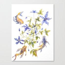 Clematis and Koi Fish Water Magic Canvas Print