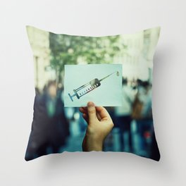 syringe symbol Throw Pillow