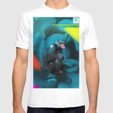 Space Chimp MEDIUM White Mens Fitted Tee
