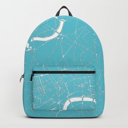 London Turquoise on White Street Map Backpack