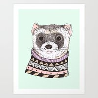ferret Art Prints featuring Hipster Ferret by Indi Maverick