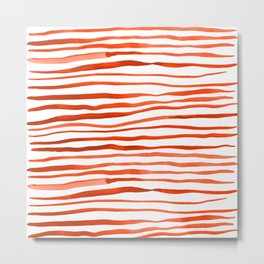 Irregular watercolor lines - orange Metal Print