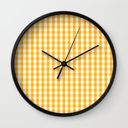 Pale Pumpkin Orange and White Halloween Gingham Check Wall Clock
