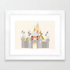 Sleeping Beauty Castle - cream background Framed Art Print