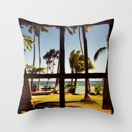 Tropical Fiji Beach Scene Throw Pillow