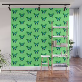 Swallowtail Butterfly in Green, Turquoise & Black Wall Mural
