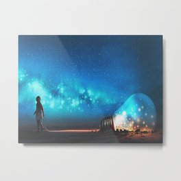 Fantasy Illustration Graphic Design Anime Japanese Inspired World Landscape 'Carrying My Thoughts' Metal Print