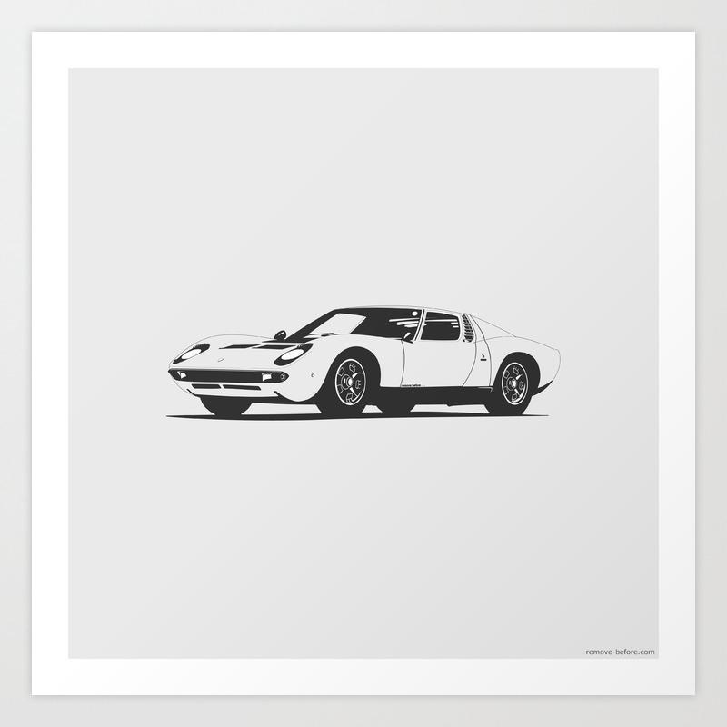 Lamborghini Miura Art Print By Marccarreras Society6