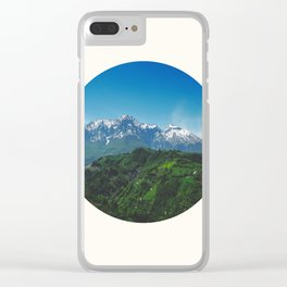 Mid Century, Modern, Round, Circle, Photo, Snow Mountain, Green Valley, Landscape Clear iPhone Case
