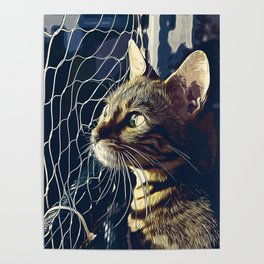 bengal cat yearns for freedom vector art foggy night Poster