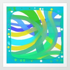 Aqua Dots and Layers Art Print