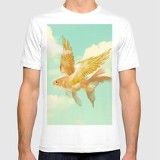 Flying Goldfish White Mens Fitted Tee MEDIUM