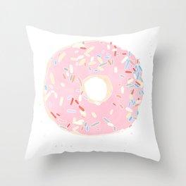 pink donut Throw Pillow
