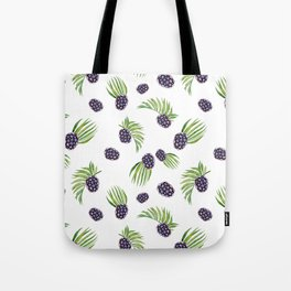 Hand painted black green watercolor fruity blackberries Tote Bag