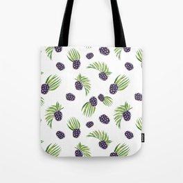 Hand painted black green watercolor fruity blackberries Tote Bag