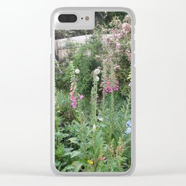 English Garden,Fertile,Atmospheric,Foxgloves and Summer Shrubs Clear iPhone Case