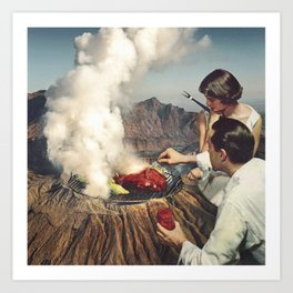 On A Good Day - Volcano BBQ Art Print