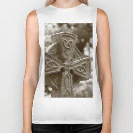 Celtic Cross in Sepia Biker Tank