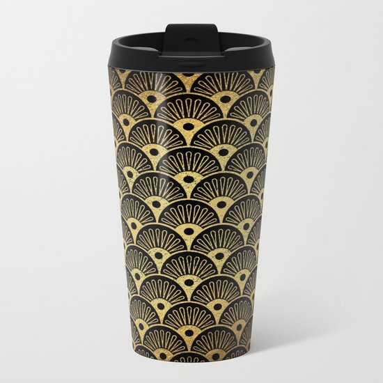 Wonderful gold glitter art deco pattern on black backround - Luxury design for your home Metal Travel Mug