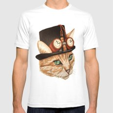 Punk Cat White Mens Fitted Tee MEDIUM