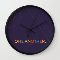 scripture Wall Clocks featuring One Another Scripture Poster (Colossians 3) by Jess Creatives
