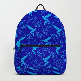 Gorgeous beautiful elegant distressed hummingbirds, delicate little leaves dark blue pattern. Birds Backpack
