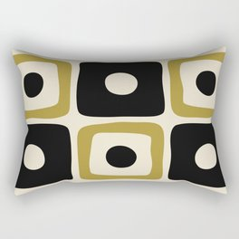 Mid Century Modern Square Dot Pattern 592 Black and Gold Rectangular Pillow