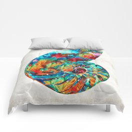 Colorful Nautilus Shell by Sharon Cummings Comforters
