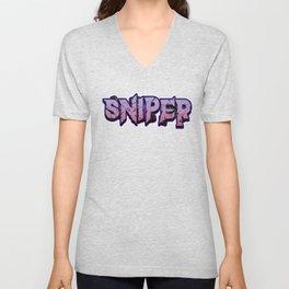 Sniper pc internet online game Shooter weapon target gift idea Unisex V-Neck