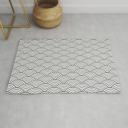Japanese Waves Pattern White On Black Rug