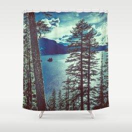 Crater Lake Vintage Summer Shower Curtain