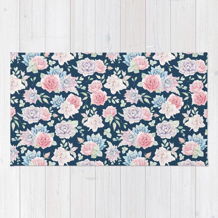 Navy Blue Blush Pink Lavender Cactus Fl Pattern Rug