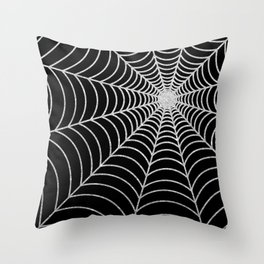 Spiderweb | Silver Glitter Throw Pillow