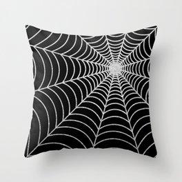 Spiderweb | Silver Glitter Throw Pillow