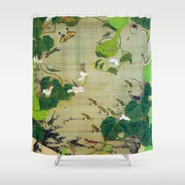 Ito Jakuchu - Pond Insects - Digital Remastered Edition Shower Curtain