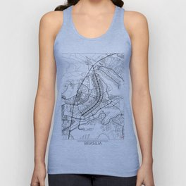 Brasilia Map White Unisex Tank Top