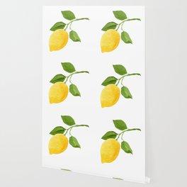 Yellow Lemon Watercolor Fruit Wallpaper