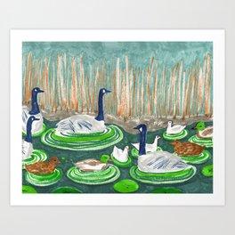 Water Friends drawing by Amanda Laurel Atkins Art Print