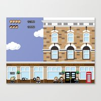 shaun of the dead Canvas Prints featuring 8bit Shaun Of The Dead by TheRandomFactory