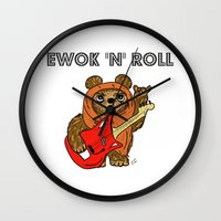 ewok Wall Clocks featuring Ewok 'N' Roll by Trinity Bennett