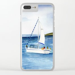 Sailing at full moon Clear iPhone Case