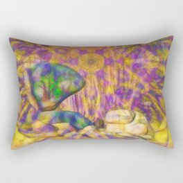 Balancing rock in psychedelic landscape Rectangular Pillow