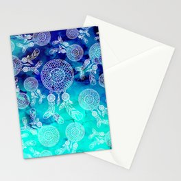 Modern boho white hand drawn dreamcatchers feathers pattern on blue turquoise watercolor Stationery Cards