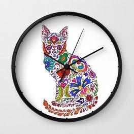 Flowery Kitty Wall Clock