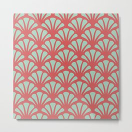 Coral and Mint Green Deco Fan Metal Print