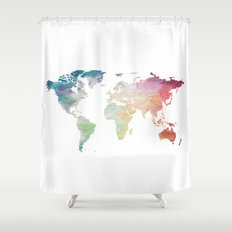 Painted World Map Shower Curtain