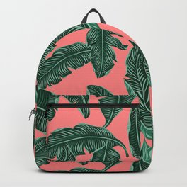 Banana leaves tropical leaves green pink #homedecor Backpack