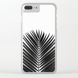 BLACK LEAVES ON WHITE Clear iPhone Case