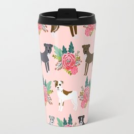 Pitbull Terrier flowers cute dog art pet portraits custom dog breed must have pitbull owner gifts Travel Mug
