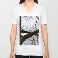 wooden V-neck T-shirts featuring Wooden Crossing by Julie Maxwell